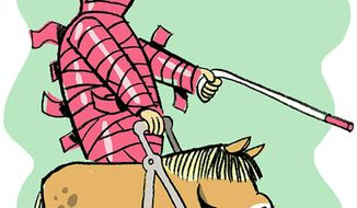 Illustration: Seeing-eye horse by Alexander Hunter for The Washington Times