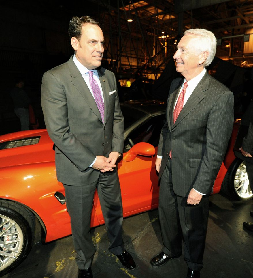 ASSOCIATED PRESS Mark Reuss (left), General Motors' North American president, and Kentucky Gov. Steven L. Beshear visit GM's plant in Bowling Green Ky., where the next-generation Corvette will be manufactured.