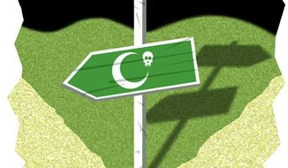 Illustration: Pakistan crossroads by Alexander Hunter for The Washington Times