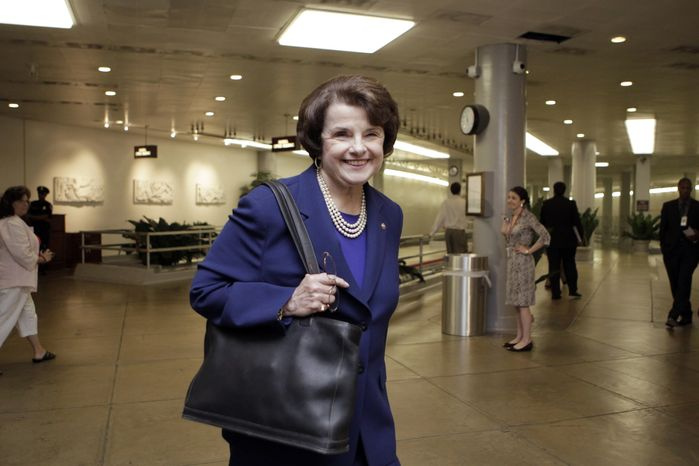 Sen. Dianne Feinstein, California Democrat, who is chairwoman of the Senate Intelligence Committee, heads to a closed briefing by CIA Director Leon E. Panetta at the Capitol in Washington on Tuesday, May 3, 2011. (AP Photo/J. Scott Applewhite)
