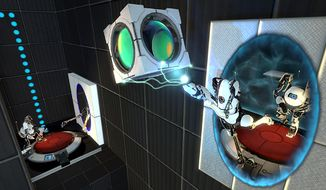 ATLAS and P-body work together during the dazzling co-operative mode in Portal 2.