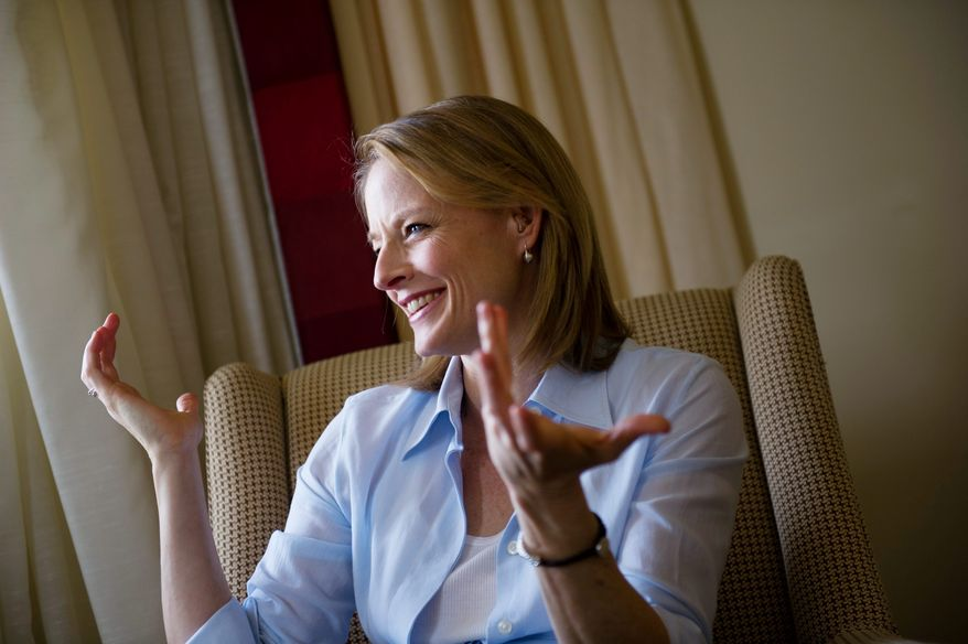 PHOTOGRAPHS BY ROD LAMKEY JR./THE WASHINGTON TIMES  Actress and director Jodie Foster talks about her movie The Beaver starring actor Mel Gibson, during an interview at the Mandarin Oriental in Washington D.C., Monday, April 3, 2011. (Photo by Rod Lamkey Jr./The Washington Times)