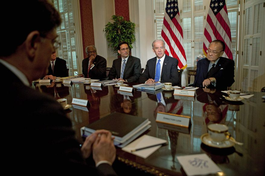 Bloomberg Vice President Joseph R. Biden (second from right) speaks Thursday during debt-reduction talks with Hill leaders. Also taking part were Rep. James E. Clyburn (fourth from right), South Carolina Democrat; House Majority Leader Eric Cantor (third from right), Virginia Republican; Sen. Daniel K. Inouye (right), Hawaii Democrat; and Office of Management and Budget chief Jacob Lew (foreground).