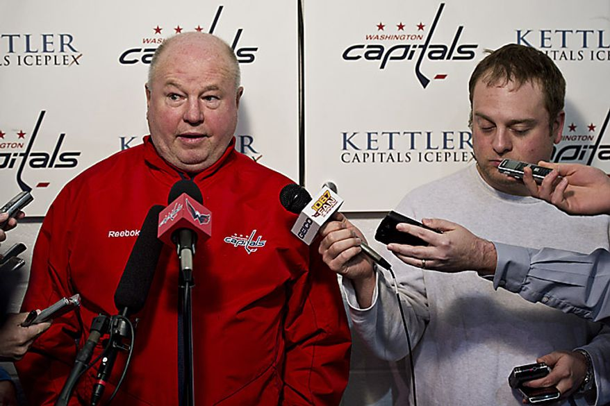 Capitals coach Bruce Boudreau talks with the media at the Kettler Ice Complex in Arlington on Thursday, May 5, 2011. (Drew Angerer/The Washington Times)