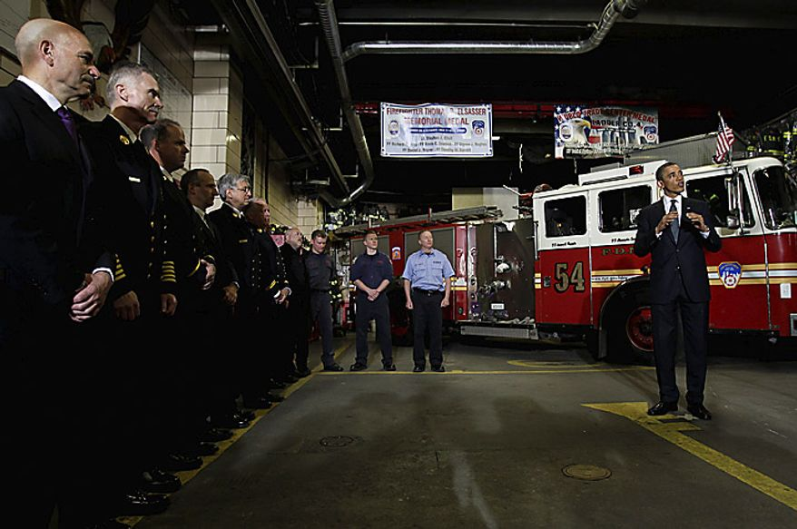 "U.S. President Barack Obama speaks to firefighters at the headquarters of Engine Company 54, Ladder Company 4 and Battalion 9, in New York, U.S., on Thursday, May 5, 2011. The firehouse lost 15 members, the single largest loss of life of any firehouse among the 343 firefighters who died during the attack on the World Trade Center on Sept. 11, 2001. Obama will go to New York's ""Ground Zero"" today, seeking to provide some closure to the worst terrorist attack on U.S. soil now that the world's most hunted terrorist, al-Qaeda leader Osama bin Laden, won't be ""walking on this earth again."" Photographer: John Angelillo/Pool via Bloomberg"