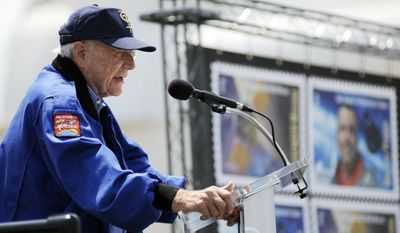 Scott Carpenter, one of two surviving Mercury Seven astronauts, speaks during a dedication ceremony of the Mercury Project/Messenger Mission stamp that was unveiled on Wednesday, May 4, 2011, at the Kennedy Space Center at Cape Canaveral, Fla. (AP Photo/Florida Today, Michael R. Brown)