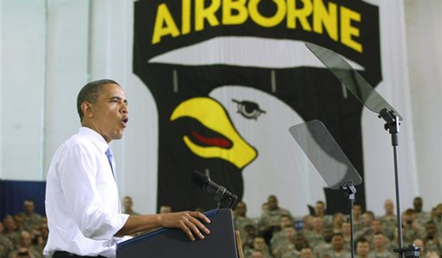 President Obama addresses military personnel who recently returned from Afghanistan on Friday, May 6, 2011, at Fort Campbell, Ky. (AP Photo/Charles Dharapak)