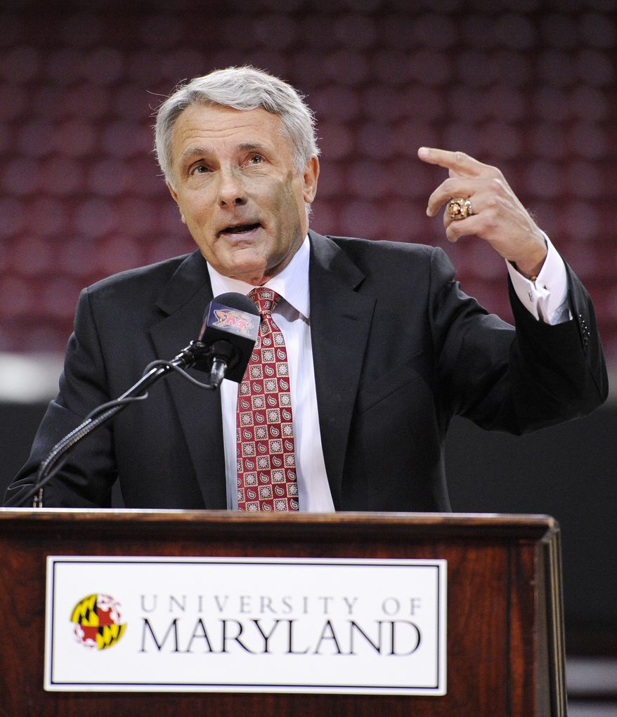 Outgoing Maryland basketball coach Gary Williams speaks Friday during a news conference to formally announce his retirement as the head basketball coach at Maryland in College Park, Md. Williams coached college basketball for 33 years, the last 22 at his alma mater. (Associated Press)