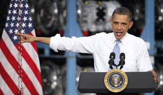 President Obama delivers remarks to Allison Transmission workers and guests Friday at one of the company's plants in Indianapolis. Obama toured the facility and talked about his long-term plan to protect consumers against rising oil prices and decrease oil imports while ensuring a cleaner, safer, and more secure energy future. (Associated Press)