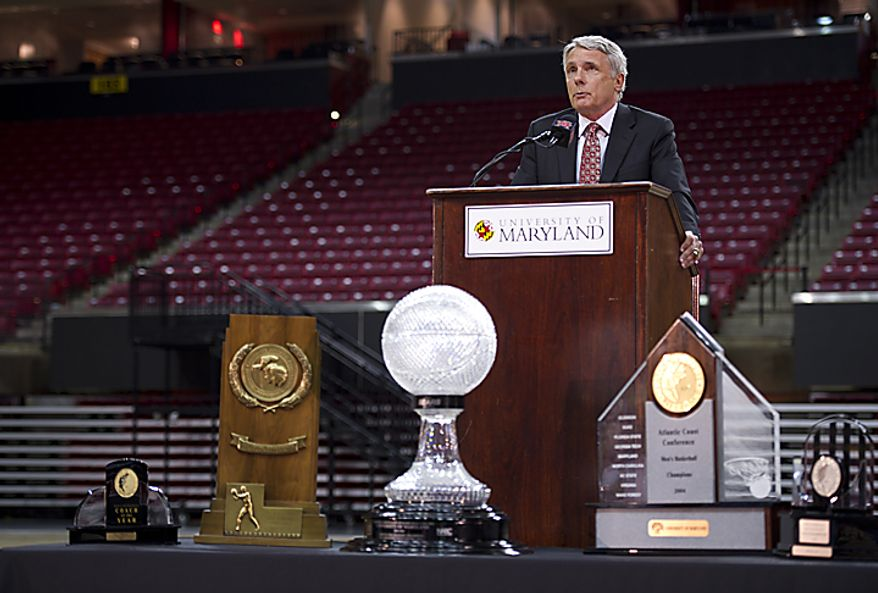 """In terms of, 'Why now?', it's just a gut feeling more than anything else,"" Coach Gary Williams told the crowd about his retirement from coaching at the Comcast Center in College Park, Md., on Friday, May 6, 2011. He said he still feels like he could coach, but he'd rather leave too early than too l(...)"