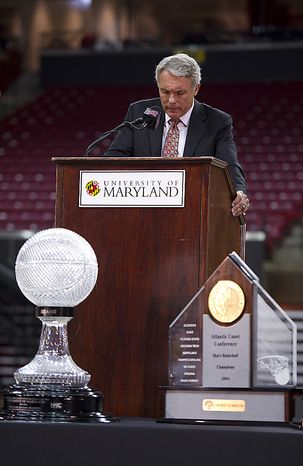 """In terms of, 'Why now?', it's just a gut feeling more than anything else,"" Coach Gary Williams told the crowd about his retirement from coaching at the Comcast Center in College Park, Md., on Friday, May 6, 2011. He said he still feels like he could co"
