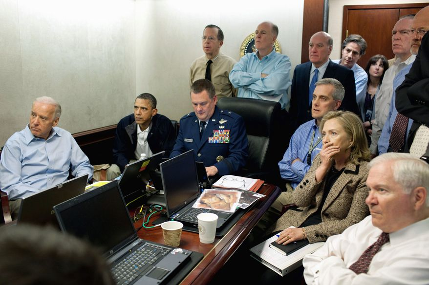 ASSOCIATED PRESS President Obama, Vice President Joseph R. Biden, Secretary of State Hillary Rodham Clinton and other members of the national security team receive an update on the mission against Osama bin Laden in the White House Situation Room on May 1.