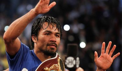 ASSOCIATED PRESS Manny Pacquiao knocked Shane Mosley down in the third round, then spent the next nine rounds chasing him before earnining a unanimous decision.