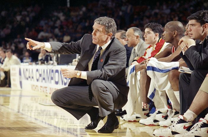 Gary Williams, shown directing his Maryland players during the 1994 NCAA tournament, inherited a program in 1989 that had just been punished by the NCAA for infractions committed under Bob Wade's watch.