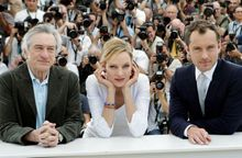 Robert De Niro, Uma Thurman and Jude Law (from left) are part of the nine-member jury that awards prizes among the 20 films in the Cannes main competition. Filmmakers Olivier Assayas and Johnnie To are also part of the jury.