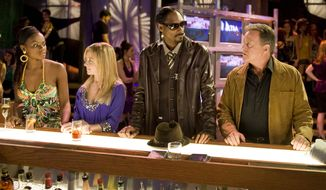 "Rapper Snoop Dogg (second from right) makes a guest appearance on the ABC soap opera ""One Life to Live,"" on which actor Robert S. Woods (right) plays Bo Buchanan. The show, which the network has canceled, has received 12 Daytime Emmy nominations. (AP Photo/ABC, Steve Fenn)"