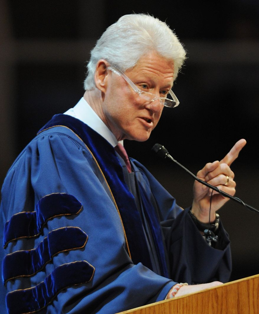 Former U.S. President Bill Clinton gives the commencement address at West Virginia University Sunday, May 16, 2010 in Morgantown, W.Va. Clinton delivered the commencement address to about 1,000 graduates of the Eberly College of Arts and Sciences. (AP Photo/Dale Sparks)