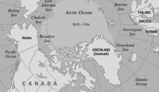 Arctic Ocean Map by Greg Groesch for The Washington Times