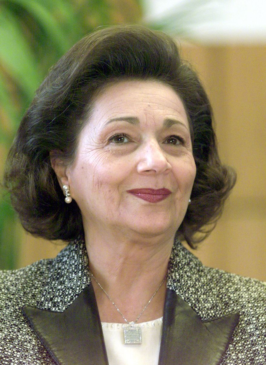 **FILE** Suzanne Mubarak, wife of Egypt's President Hosni Mubarak, is seen here Feb. 19, 2003, at the Free University Berlin. (Associated Press)