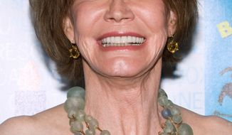 "** FILE** In this July 11, 2009, file photo, actress Mary Tyler Moore attends Broadway Barks 11 in New York. A representative for Mary Tyler Moore says the veteran sitcom star is ""recovering nicely"" after surgery to remove a benign tumor on the lining of her brain. (AP Photo/Charles Sykes, file)"
