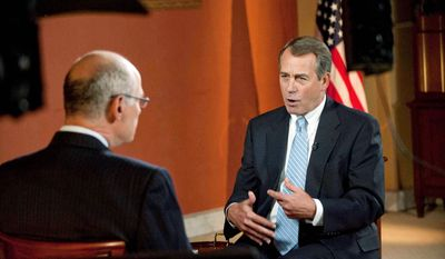 """CBS NEWS VIA ASSOCIATED PRESS Republican Speaker of the House John A. Boehner answers questions about solving fiscal problems during a prerecorded Sunday interview on CBS' """"Face the Nation"""" with host Harry Smith. Mr. Boehner said everything should be on the table except raising taxes because that would hurt the economy and the ability to create jobs at home."""