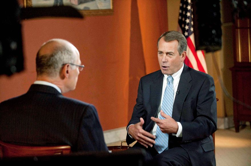 "CBS NEWS VIA ASSOCIATED PRESS Republican Speaker of the House John A. Boehner answers questions about solving fiscal problems during a prerecorded Sunday interview on CBS' ""Face the Nation"" with host Harry Smith. Mr. Boehner said everything should be on the table except raising taxes because that would hurt the economy and the ability to create jobs at home."