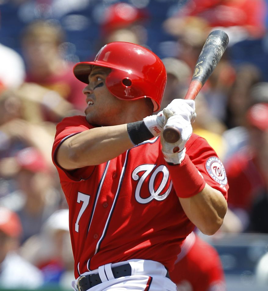 Washington Nationals' Ivan Rodriguez will make two more starts this year. These may be the last ones in a Nationals uniform. (AP Photo/Luis M. Alvarez)