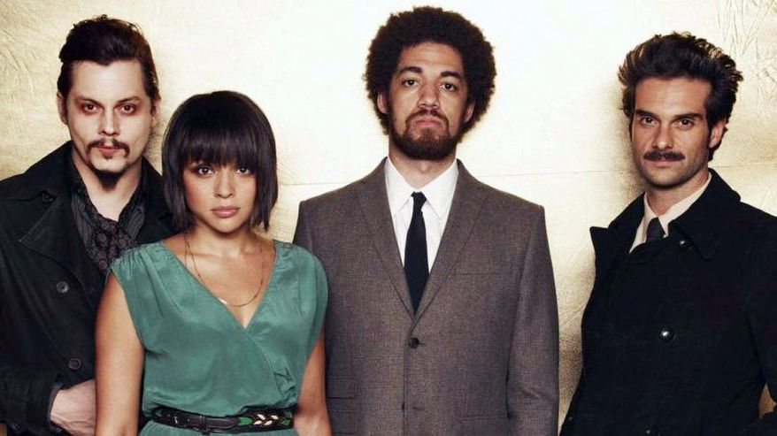 """Left to right: Jack White, Norah Jones, Brian """"Danger Mouse"""" Burton and Daniele Luppi contribute their talents to """"Rome,"""" due to be released Tuesday."""