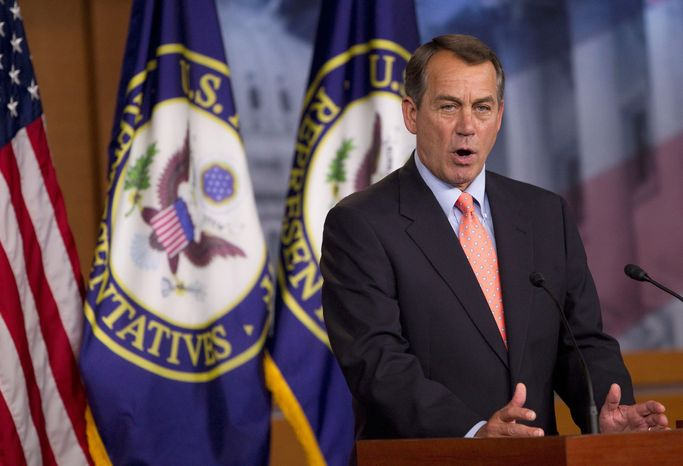 House Speaker John A. Boehner, Ohio Republican, is among GOP leaders insisting on binding changes in the short term to discretionary spending and in the long term to entitlement spending. The federal government hit its debt limit on May 16. (AP Photo)