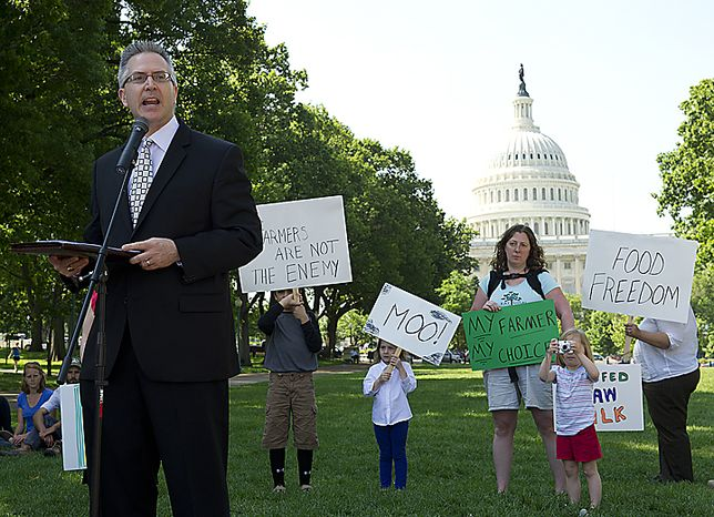 Jonathan Emord, attorney for the organization Grassfed on the Hill, speaks during a rally at Upper Senate Park in Washington, D.C., on Monday, May 16, 2011 to protest the sting operation the FDA conducted against Pennsylvania farmer Dann Allgyer and his private buying customers
