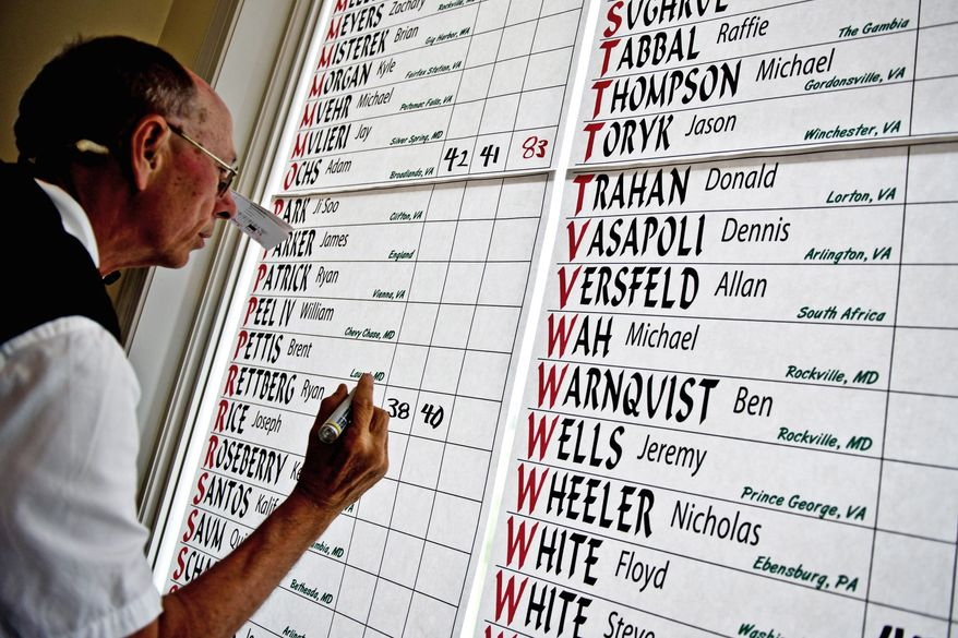 Tournament official Randy Reed enters the scores on the leaderboard in the clubhouse, during the U.S. Open local qualifying tournament at Worthington Manor Golf Club.