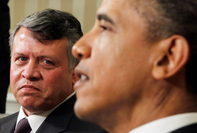 "ASSOCIATED PRESS President Obama meets with Jordan's King Abdullah II in the Oval Office on Tuesday. The  king thanked him for U.S. economic aid and his ""continued interest and support"" for negotiations between"