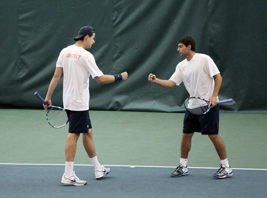 UNIVERSITY OF VIRGINIA Drew Courtney (left) and Michael Shabaz are 20-3 and enter the NCAA team championships as the No. 2 seed.