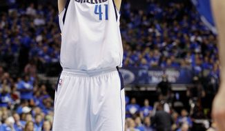 ASSOCIATED PRESS Dallas forward Dirk Nowitzki made an NBA playoff-record 24 consecutive free throws in a 121-112 win over Oklahoma City in Game 1 of the Western Conference finals Tuesday. His 48 points were the most this postseason.