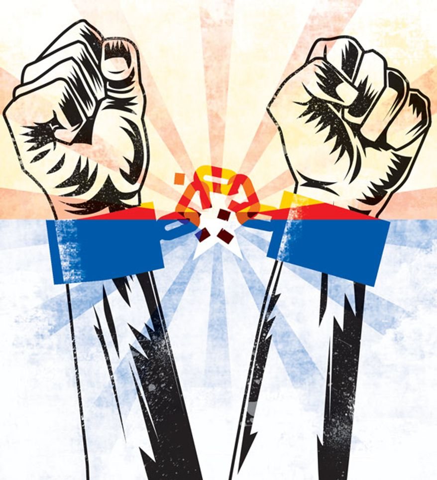 Illustration: Baja Arizona secession by Linas Garsys for The Washington Times