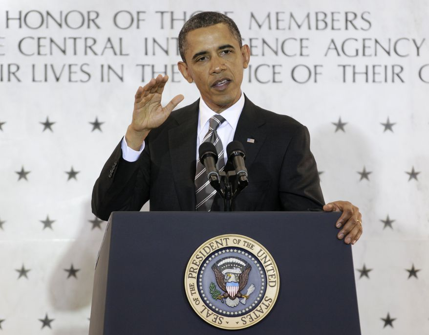 ** FILE ** President Barack Obama speaks to CIA employees at the CIA Headquarters, Friday, May 20, 2011, in Langley, Va. (AP Photo/Carolyn Kaster)