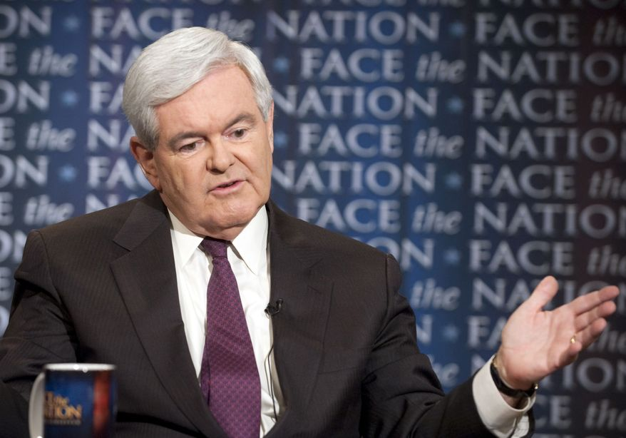 "Former House Speaker Newt Gingrich, who is running for the Republican presidential nomination, appears on CBS' ""Face the Nation"" on Sunday, May 22, 2011, in Washington. (AP Photo/CBS News, Chris Usher)"