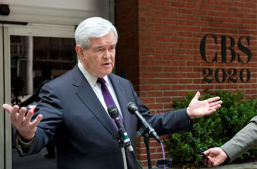 CBS NEWS VIA ASSOCIATED PRESS Republican presidential candidate Newt Gingrich answers questions outside CBS studios on Sunday. After the ruckus caused by his comments on Rep. Paul Ryan's Medicare plan, he said groundwork needed to be laid first.