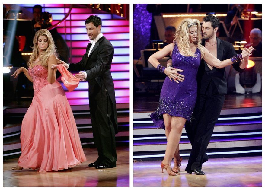 "In this photo combination of file images released by ABC, actress Kirstie Alley and her partner Maksim Chmerkovskiy perform on the celebrity dance competition series, ""Dancing with the Stars,"" in Los Angeles, on March 28, 2011, at left, and May 16, 2011, at right. Alley has been losing weight week-after-week during the competition. (AP Photo/ABC, Adam Taylor, File)"