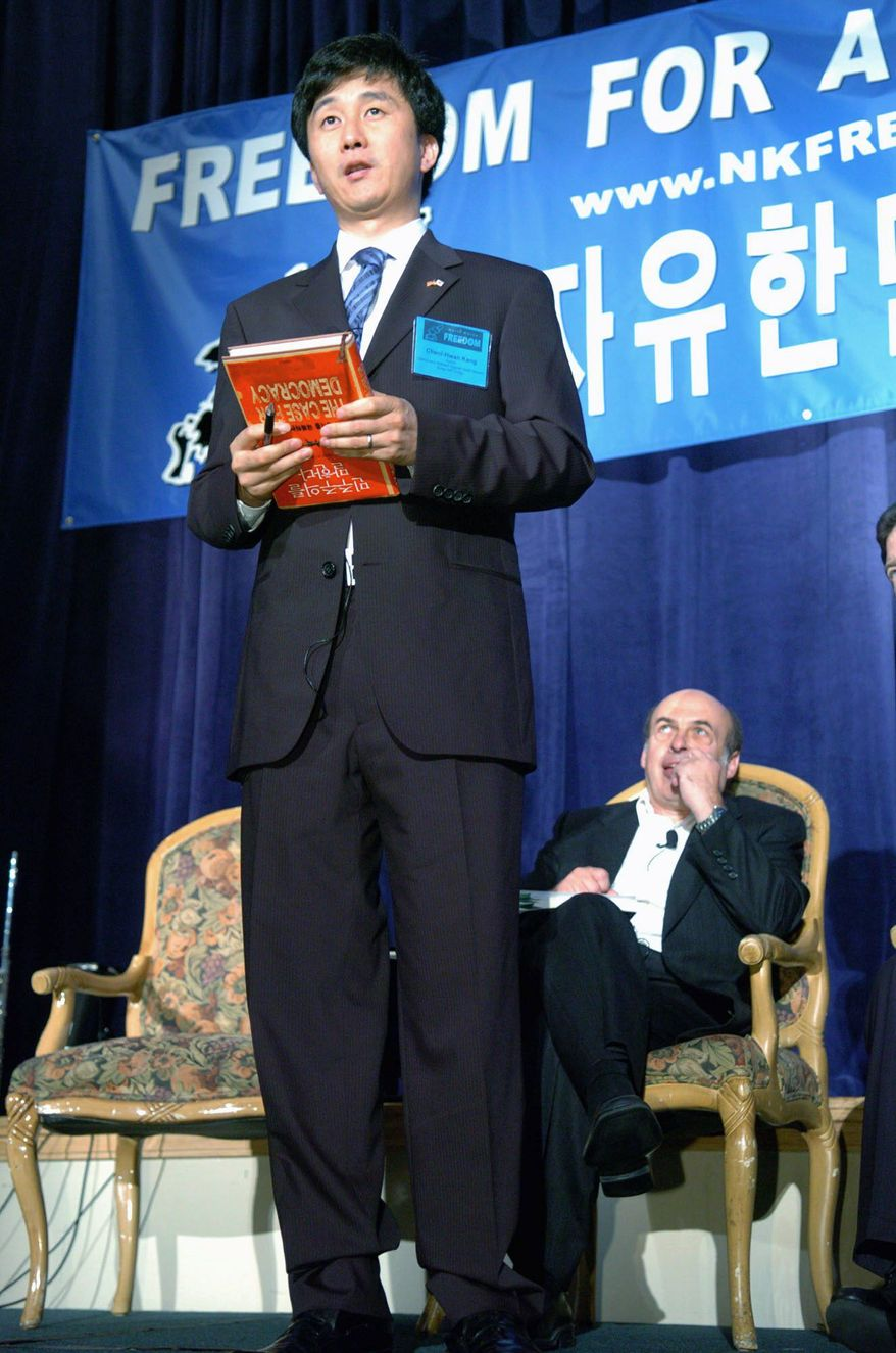 """""""Before the reform, the government officials we met with would be very angry if we actually blamed the North Korean leader in any way, but afterwards, even they call him crazy,"""" said North Korean defector and author Kang Cheol-hwan. (Associated Press)"""