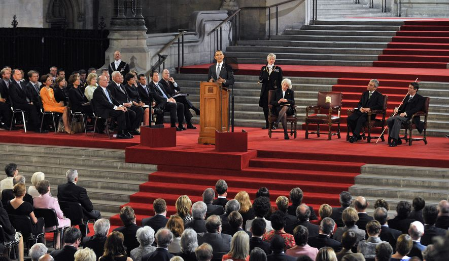 President Obama delivers a speech to both Houses of Parliament during the second day of his state visit in London, Wednesday, May 25, 2011. Obama was granted the honor of being the first U.S. president to speak from the grand setting of Westminster Hall. (AP Photo/Andy Rain, pool)