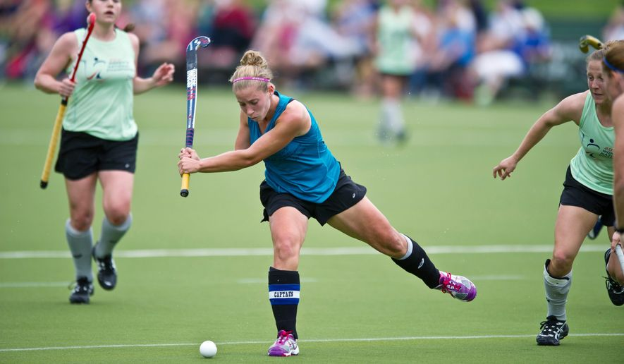 Katie O'Donnell (#16) of Mid Atlantic takes a shot a the net in the second half during the USA Field Hockey Women's National Championship at American University on May 20, 2011. Pennsylvania won 1-0. (Rod Lamkey Jr./The Washington Times)