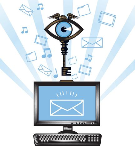 Illustration: Big Brother's online snooping by Linas Garsys for The Washington Times