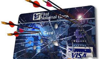 Illustration: Debit card attack by Greg Groesch for The Washington Times