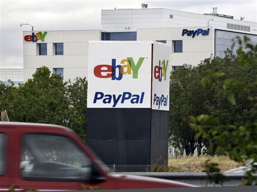 Exterior view of PayPal and eBay offices in San Jose, Calif., Friday, May 27, 2011. Google says it will fight allegations that it stole PayPal's trade secrets to develop a service that allows people to use their smartphones like credit cards. (AP Photo/Paul Sakuma)