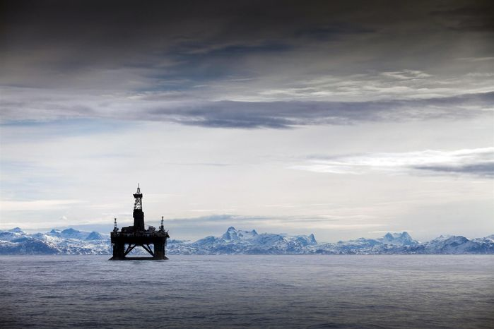Greenpeace activists on Sunday, May 29, 2011, attached an arctic survival pod to the Leiv Eiriksson oil rig off Greenland's coast. The three activists have enough food and water to stay in the pod for 10 days. (AP Photo/Greenpeace, Steve Morgan)