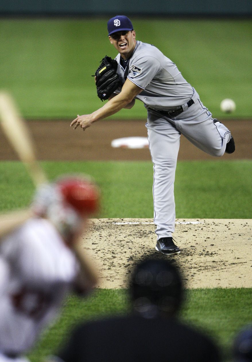 San Diego Padres starting pitcher Clayton Richard throws against the Washington Nationals during the third inning of a baseball game, Friday, May 27, 2011, at Nationals Park in Washington. (AP Photo/Jacquelyn Martin)