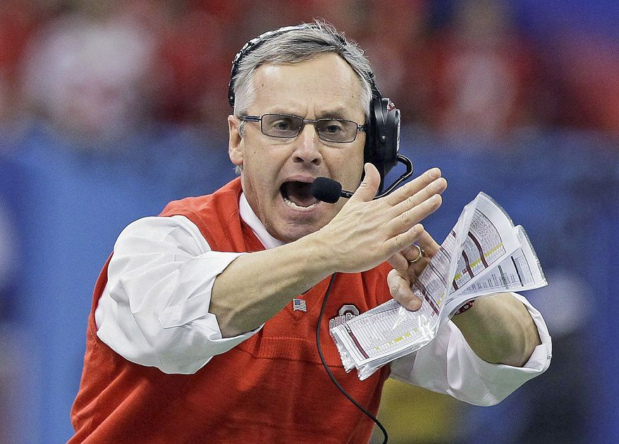 Jim Tressel compiled a 106-22-0 record at Ohio State, winning a national championship in 2002. He also won four Division I-AA titles at Youngstown State in 15 years. (Associated Press)