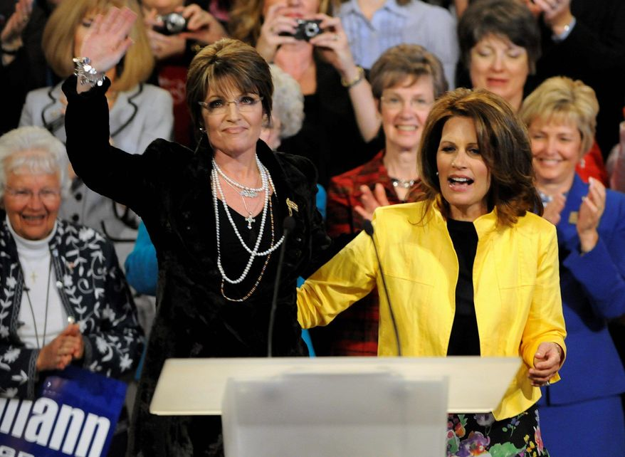 """The press seems relish the idea of a cat fight between tea party """"darlings"""" Sarah Palin (left) and Rep. Michele Bachmann for the Republican nomination. Or how about a ticket with the two of them? (Associated Press)"""