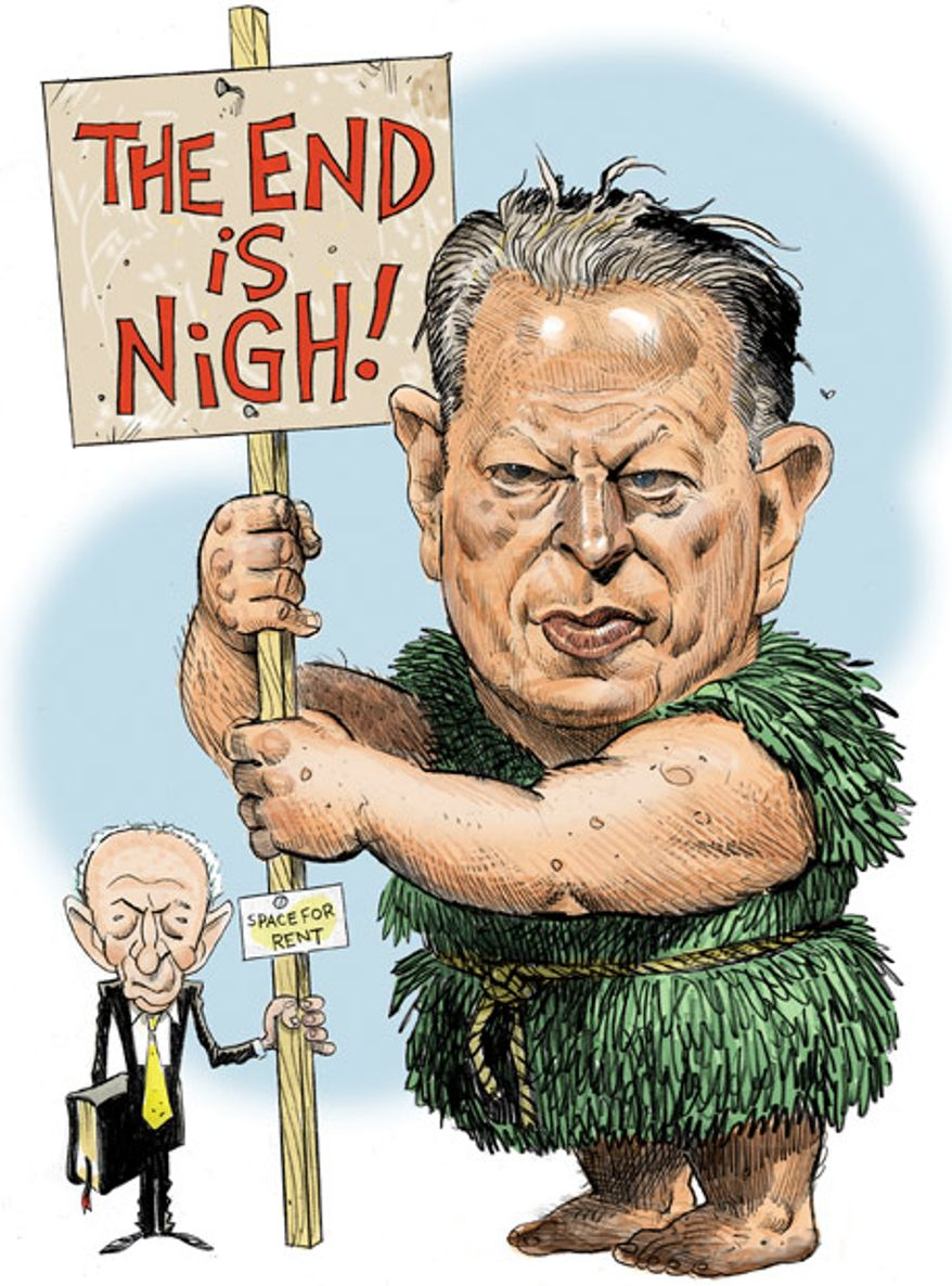 Illustration: Al Gore's the End is Nigh by Alexander Hunter for The Washington Times